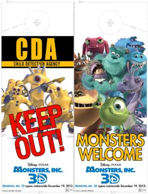 Actividad imprimible gratis de Monsters Inc. 3D