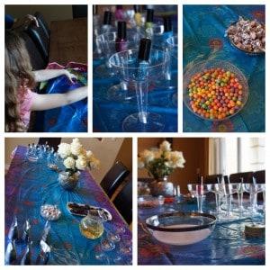 Organizando la mesa para la fiesta
