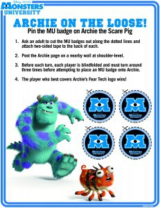 Juego gratis imprimible de Monsters University