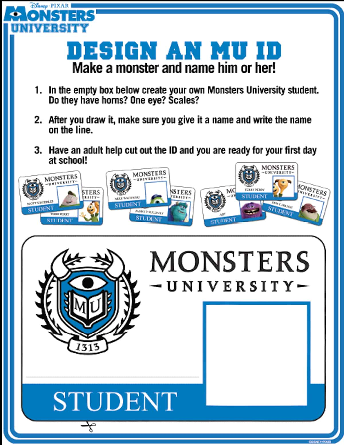 How to make your own monsters university id hispana global for University id card template