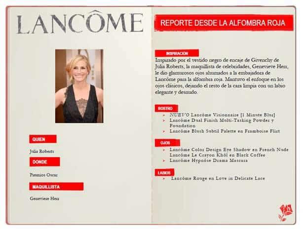 Maquillaje de Julia Roberts en los premios Oscar