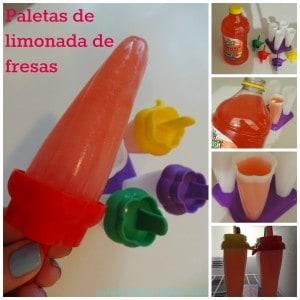 Paletas de limonada de fresas
