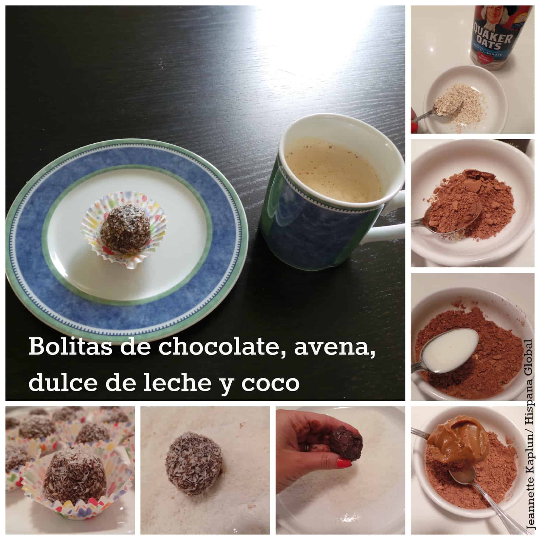 Haz bolitas sw chocolate avena dulce de leche y coco