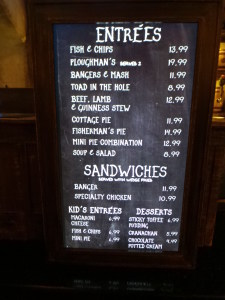 Leaky Cauldron lunch menu