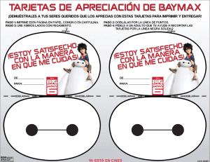 tarjetas de apreciación de baymax big hero 6