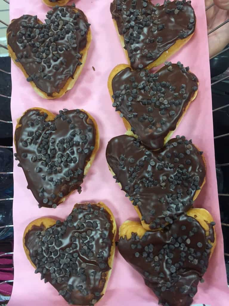 Chocolate heart donuts