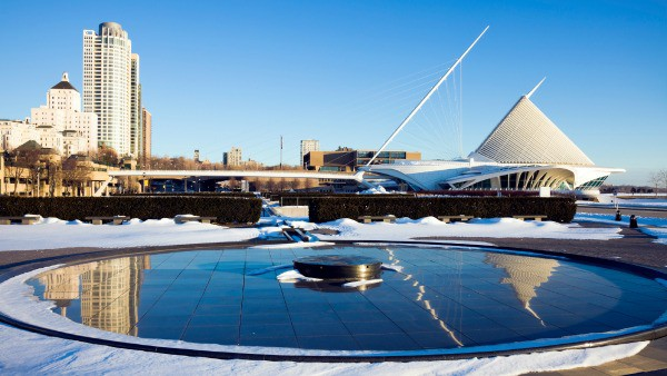 Milwaukee winter time - Art Museum and downtown buildigns reflected
