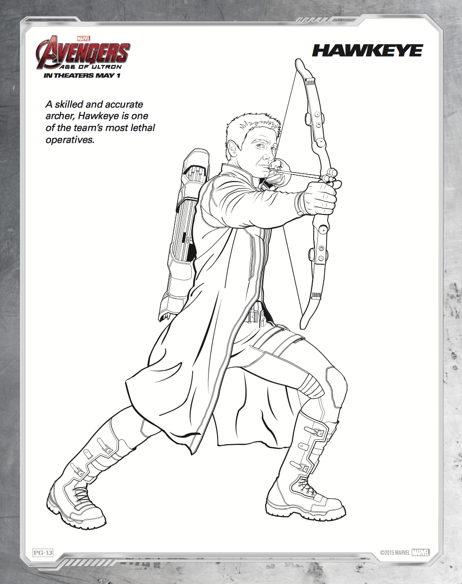 Hawkeye Disney Infinity Coloring Pages
