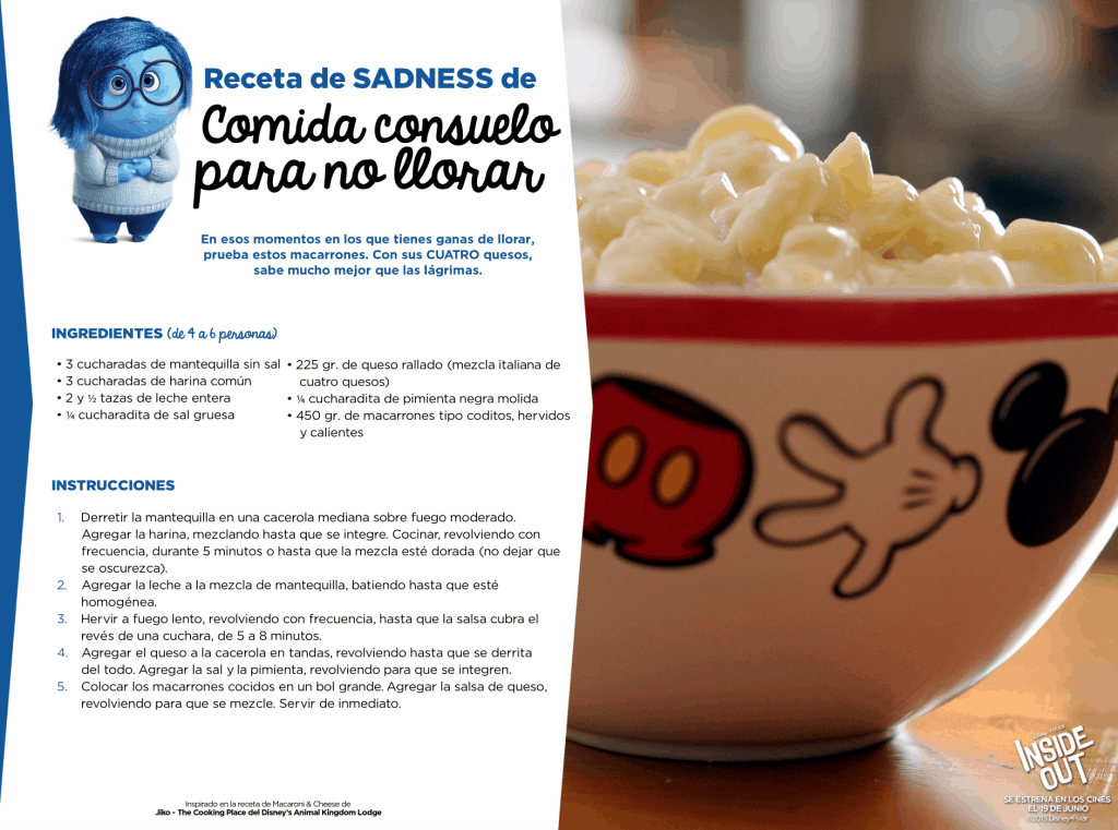 Receta Inside Out comida para no llorar