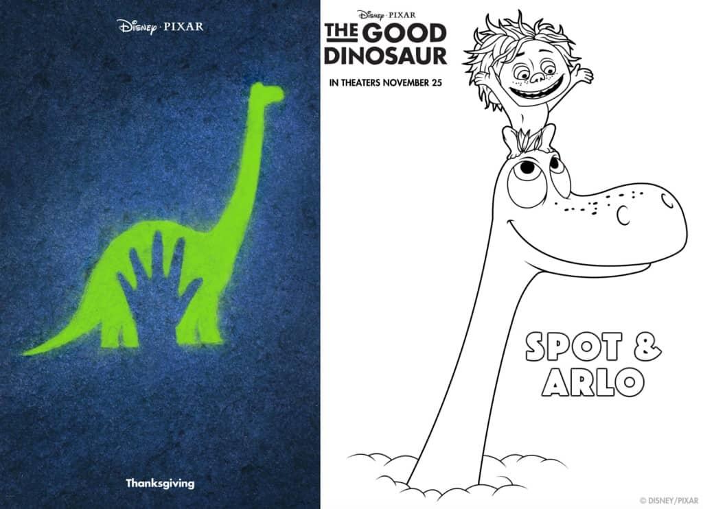 Figuras para colorear de Un Gran Dinosaurio de Disney Pixar