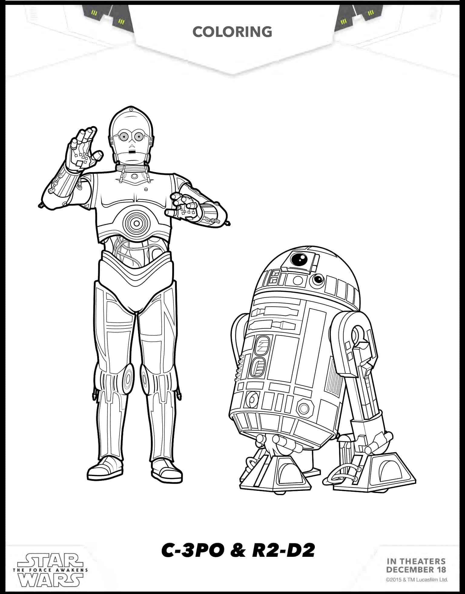 8 dibujos para colorear de Star Wars: The Force Awakens - Hispana Global