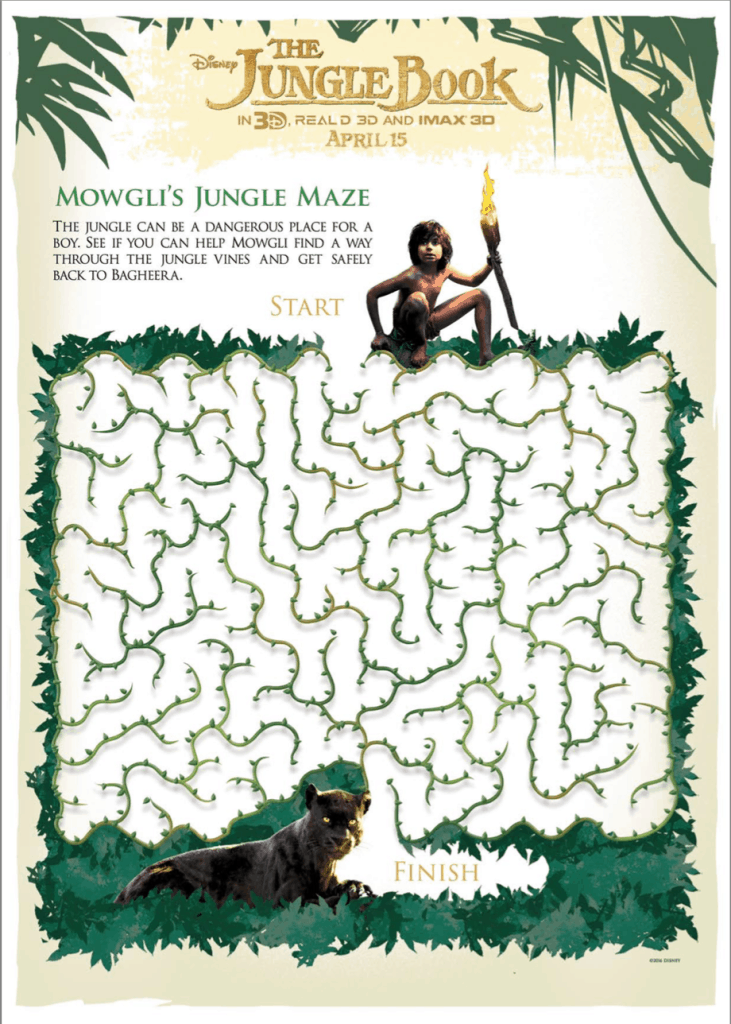 El Libro de la Selva o The Jungle Book Maze Activity Printable Sheet