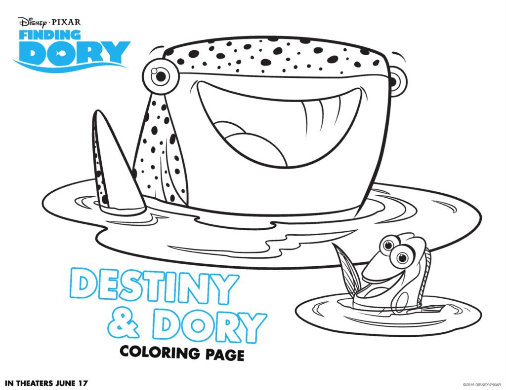 Destiny y Dory figuras para colorear