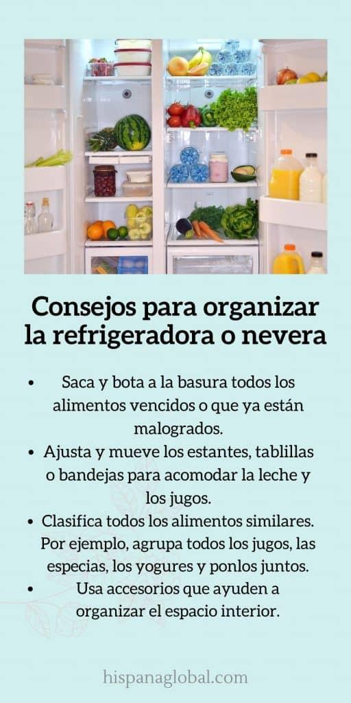 Los mejores  consejos para organizar la refrigeradora o nevera