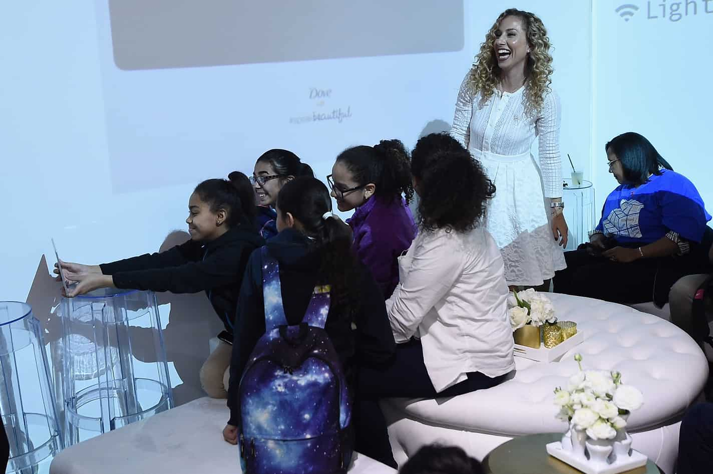 Jeannette Kaplun speaks with girls about body positivity at a Dove Self-Esteem Workshop to encourage girls to #speakbeautiful on October 20, 2016 in New York City. Visit twitter.com/dove to join the movement and help inspire online body positivity and confidence for the next generation. (Photo by Ilya S. Savenok/Getty Images for Dove) *** Local Caption *** Jeannette Kaplun