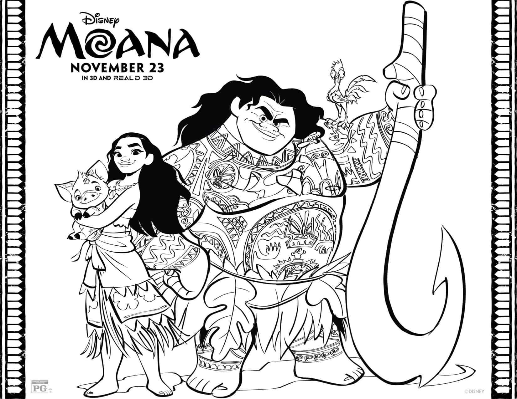 Dibujos para colorear gratis de Moana - Hispana Global