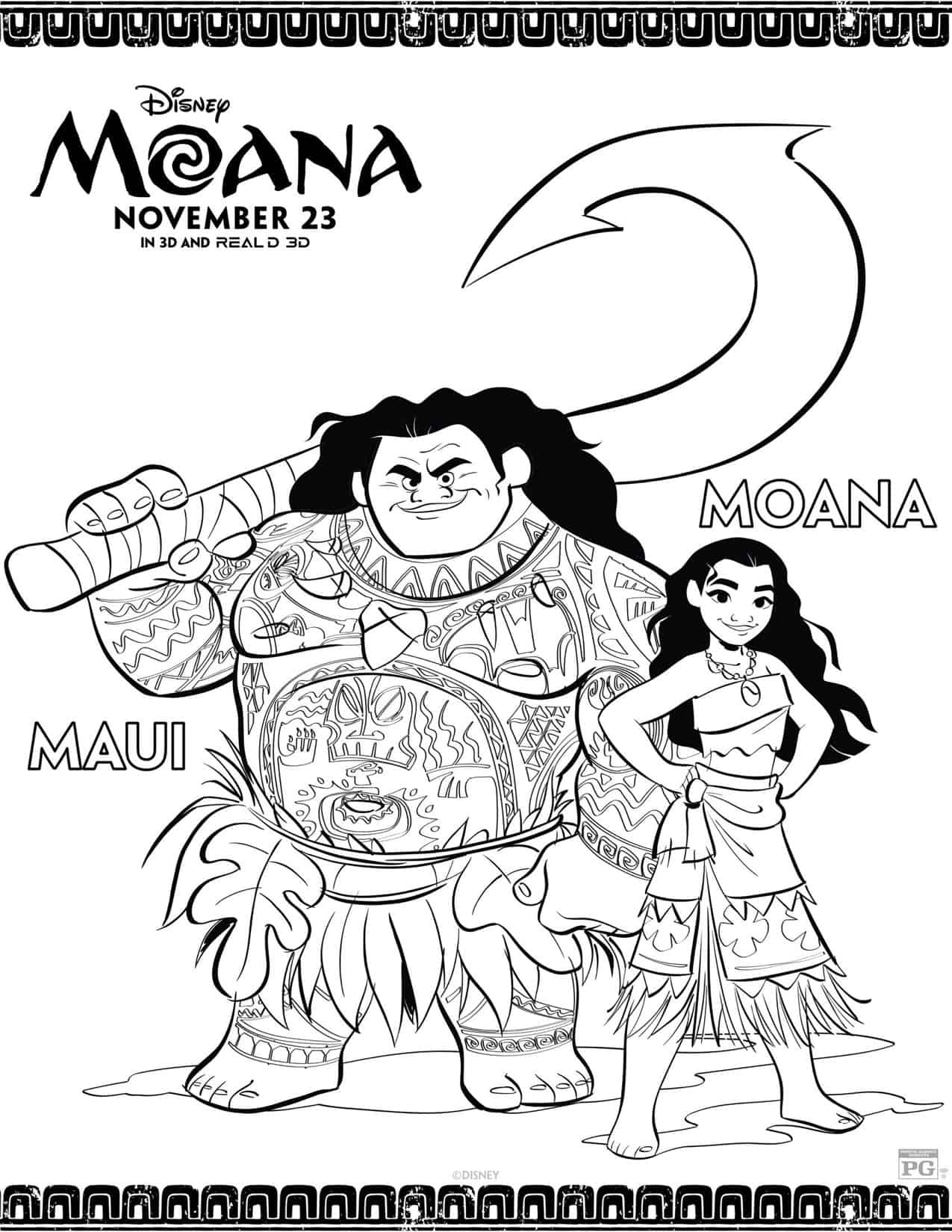 Dibujos Para Colorear Gratis De Moana Hispana Global