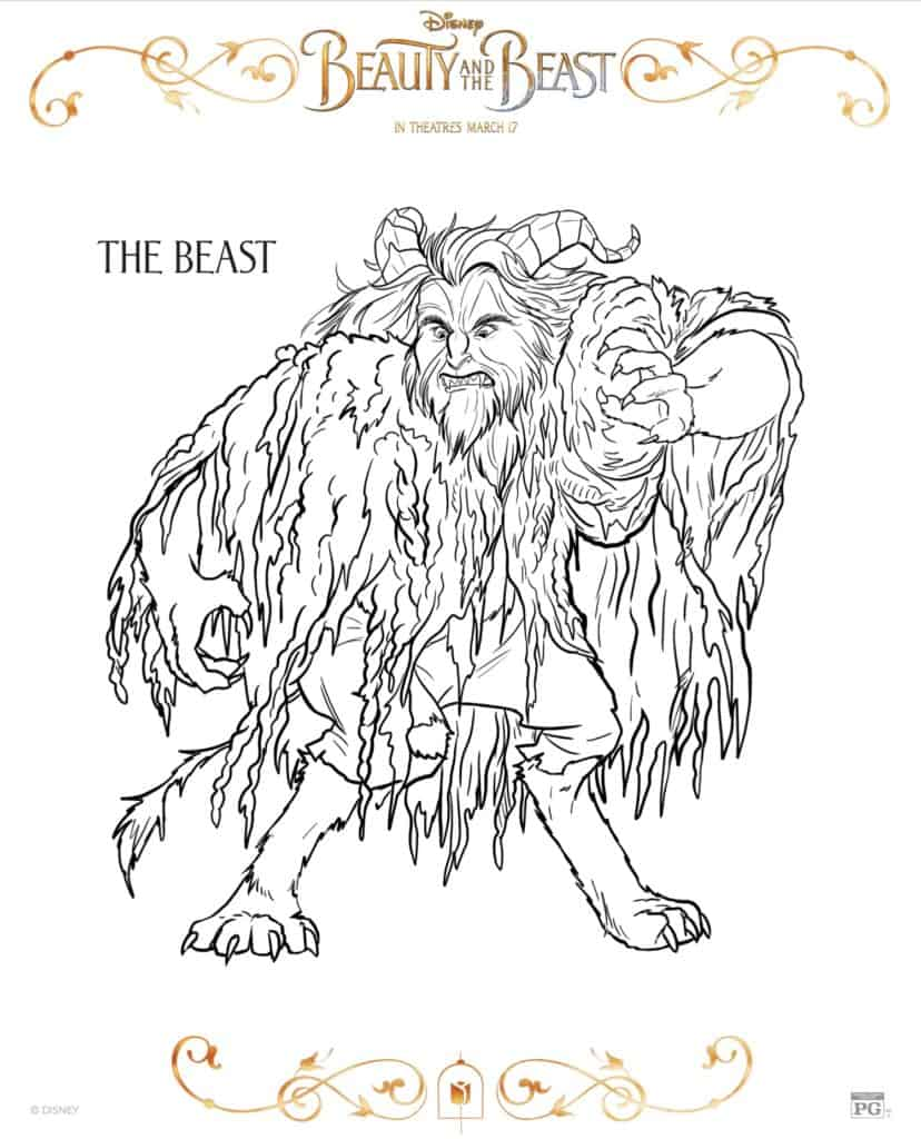 Beauty and the Beast la bestia dibujo para colorear