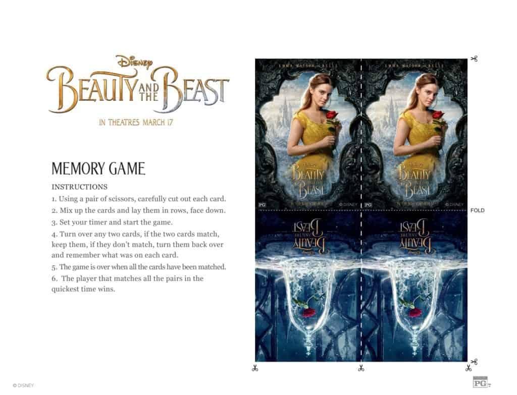 Juego de memoria de Bella y la Bestia