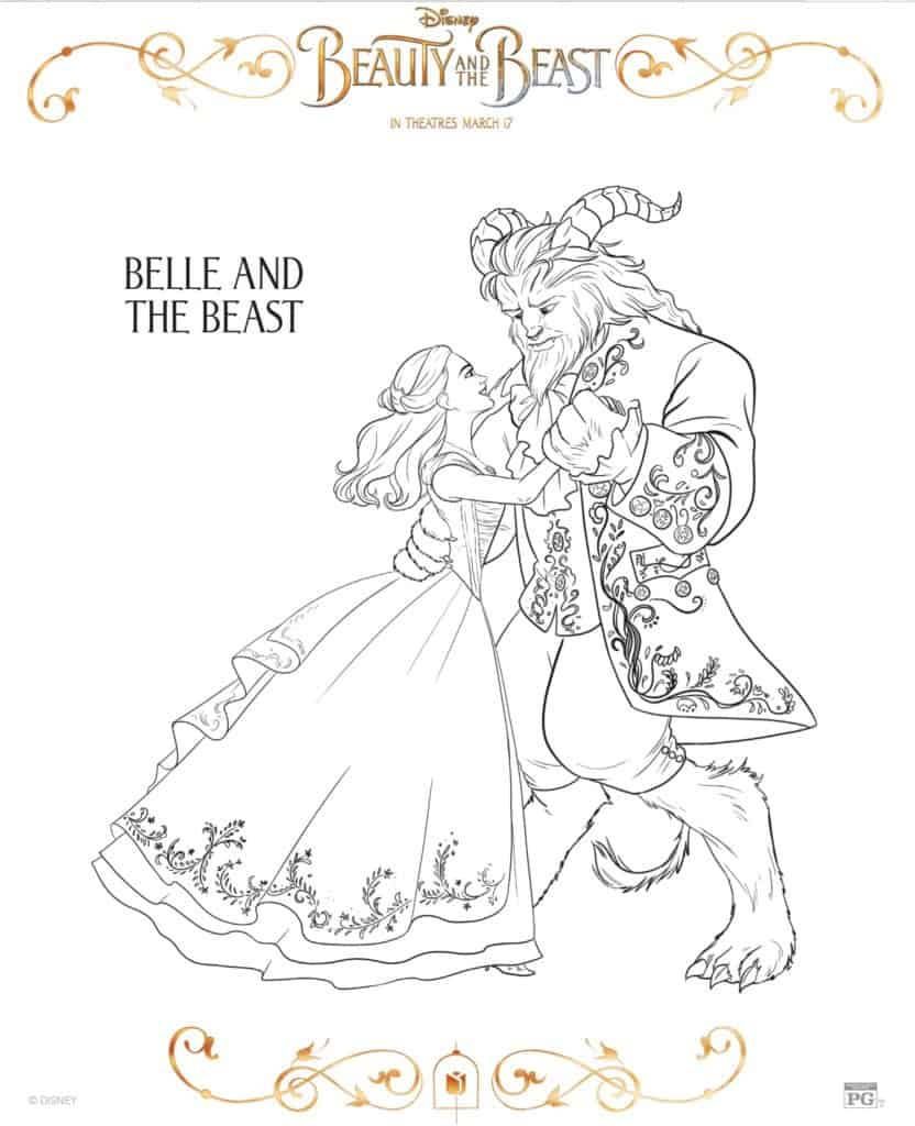Beauty and the Beast Bella y bestia dibujo para colorear