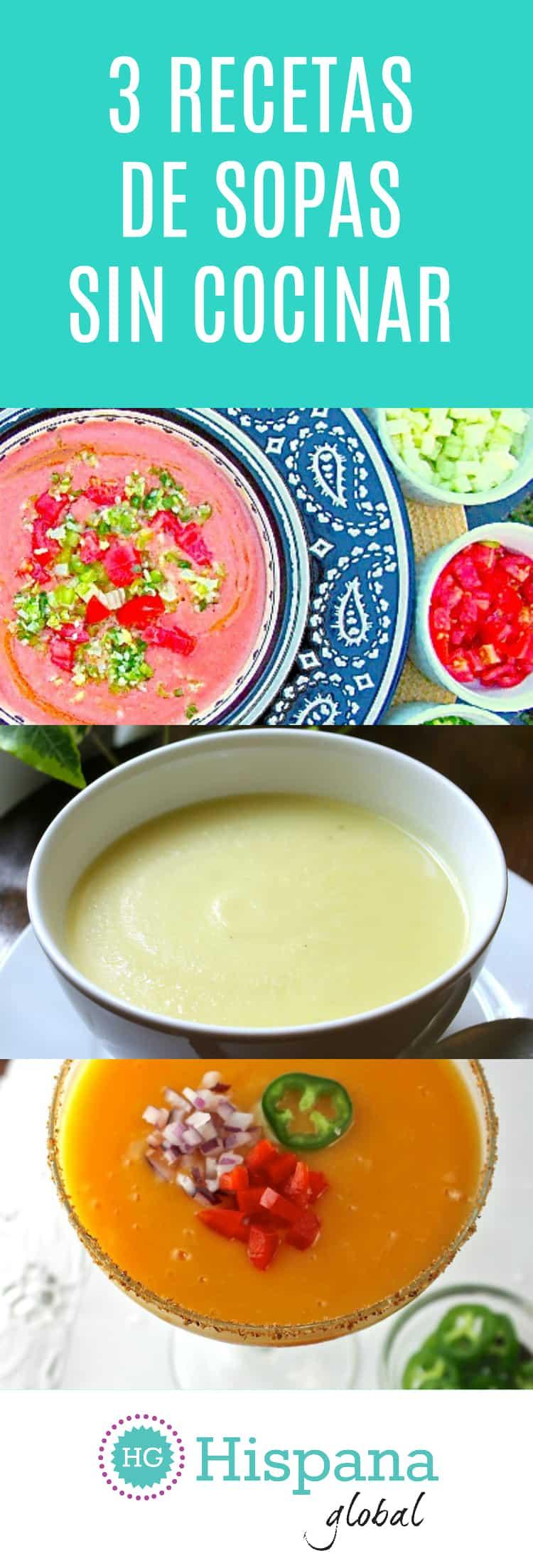 Recetas de sopas frías, sopas sin cocinar como gazpacho de mango, sopa de yogurt y pepino