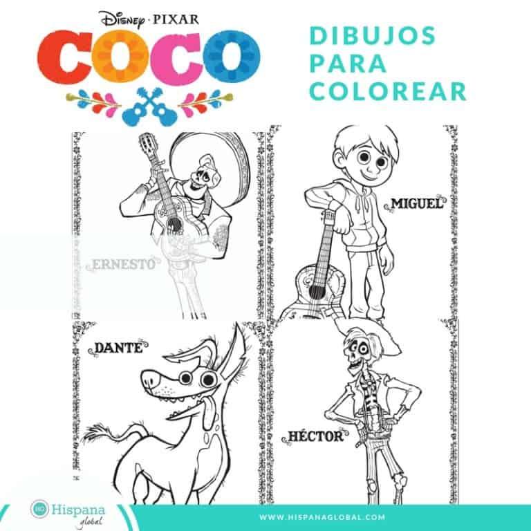 Figuras Para Colorear Gratis De Coco Hispana Global