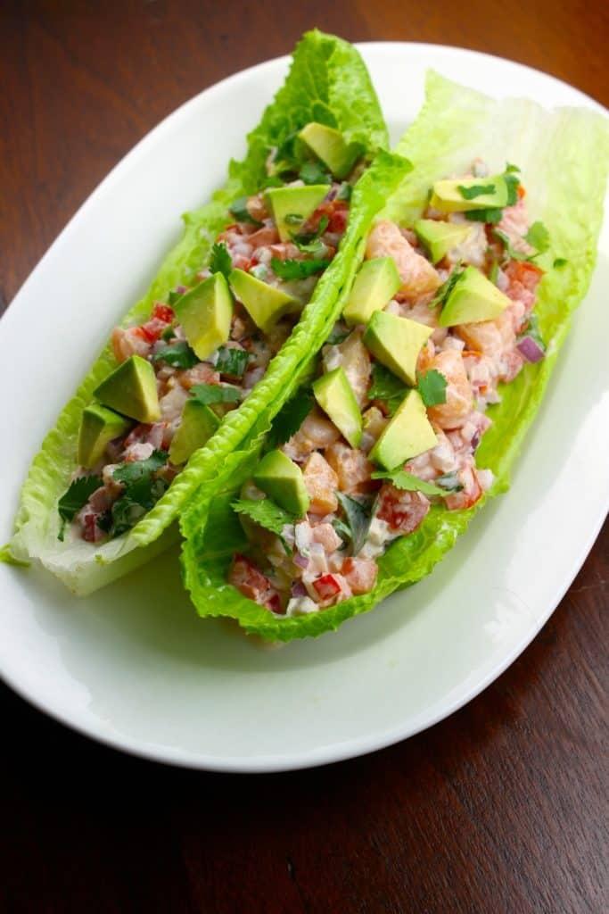 Receta de tacos de lechuga con camarón