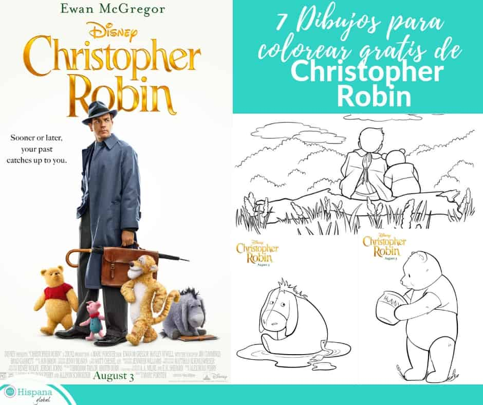 7 Dibujos para colorear gratis de Christopher Robin - Hispana Global