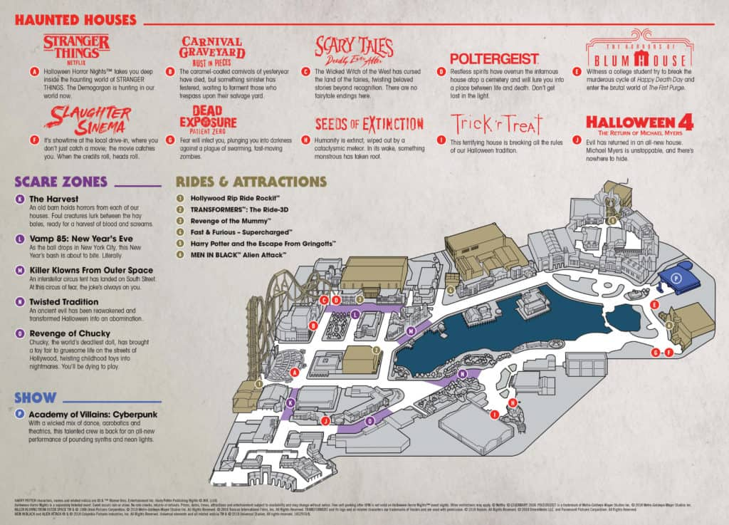 Mapa de Halloween Horror Nights en Universal Orlando
