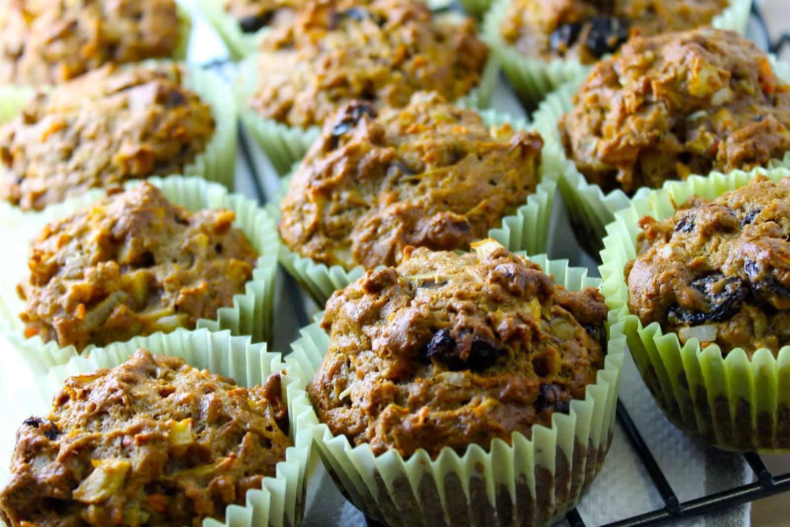 Receta de panecillos o muffins saludables de zanahoria