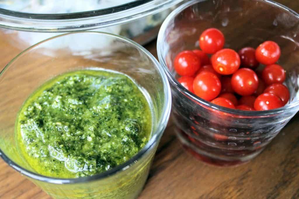 ingredientes para pasta con langostinos y pesto