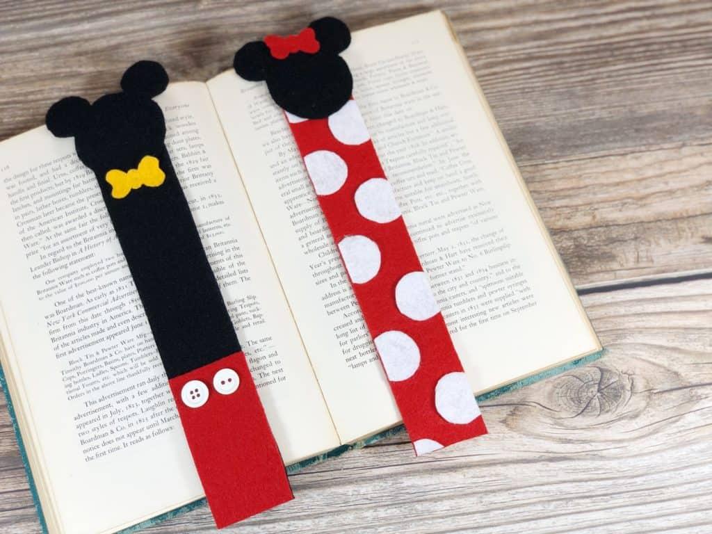 Marcapáginas o marcadores de libros de Mickey y Minnie Mouse