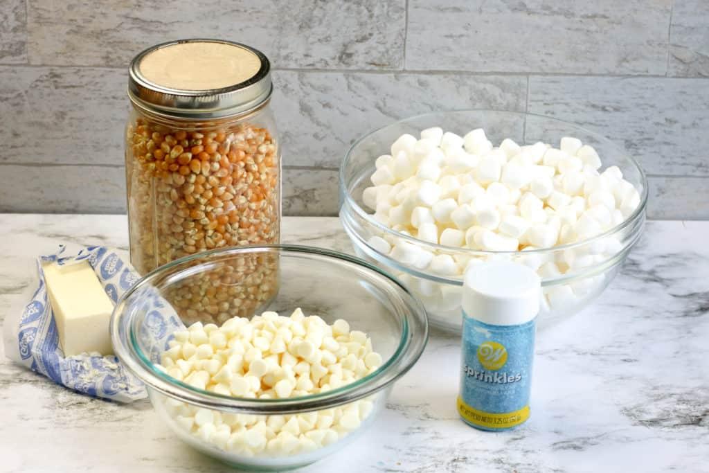 Ingredientes para preparar Bolas de popcorn o palomitas de maiz con chocolate blanco