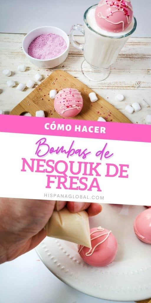 Prepara unas espectaculares bombas de fresa con Nesquik en polvo y deleita a todos con una deliciosa sorpresa cuando le viertas leche caliente encima.