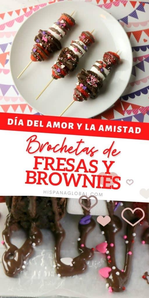 Celebra el día de San Valentín con estas deliciosas brochetas de fresas o frutillas y brownies, que puedes preparar en pocos minutos.